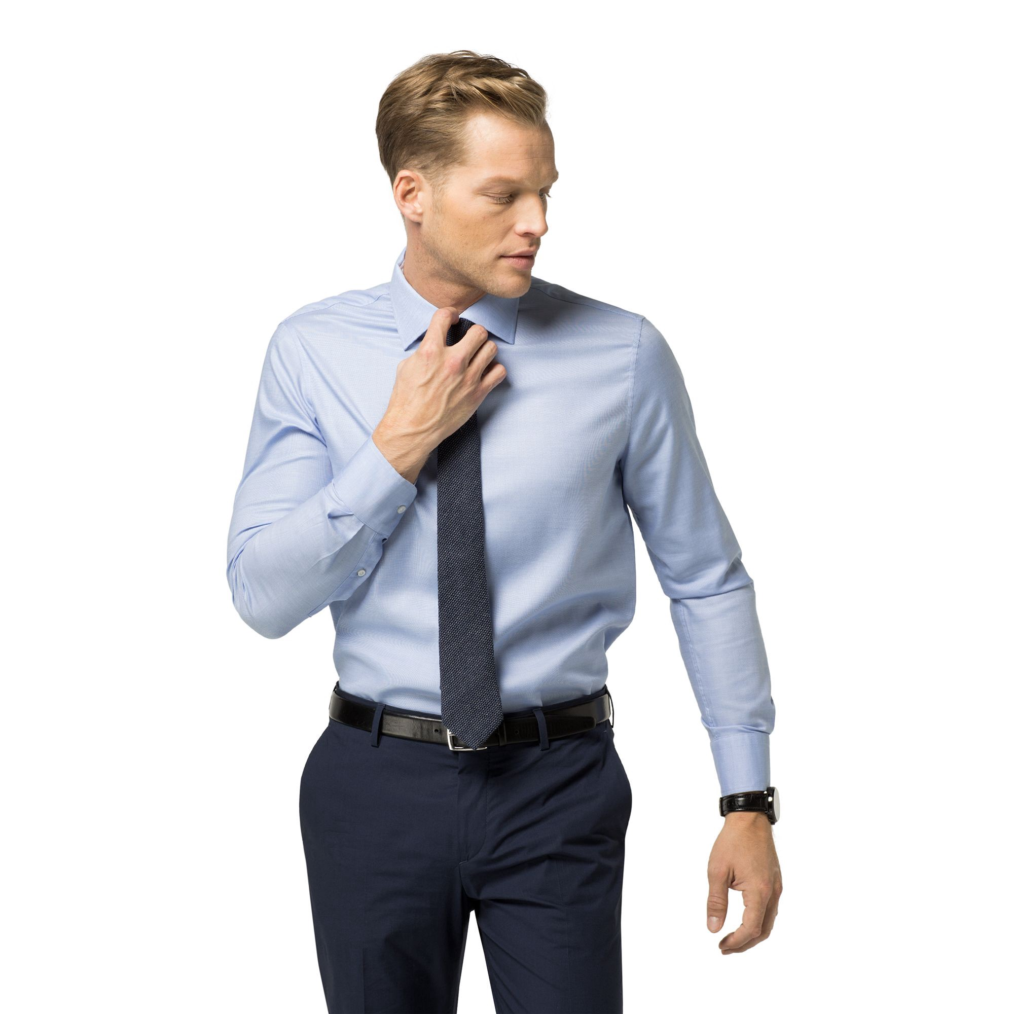 TOMMY HILFIGER Final Sale-Tailored Collection Slim Fit Chambray Shirt - Light Blue