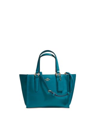 COACH Crosby Mini Carryall In Smooth Leather in Teal/Gold