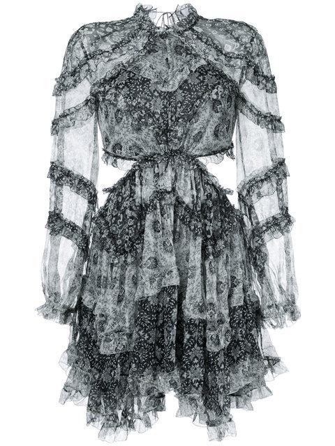 ZIMMERMANN Side Cut-Out Ruffled Dress in Black