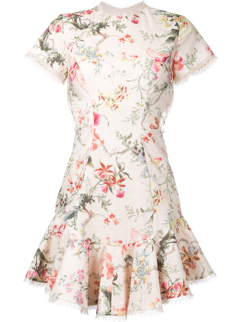 ZIMMERMANN Floral Print Crisscross Back Dress