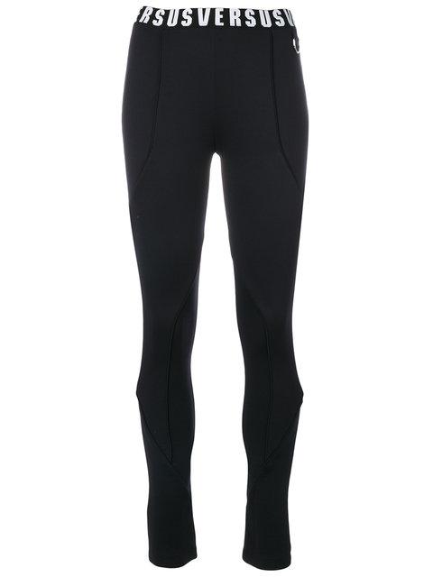VERSUS Versace Logo Embroidered Leggings in Black