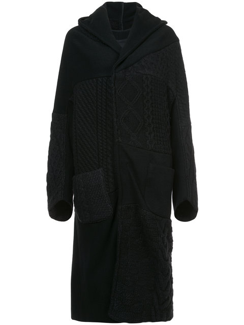 Y'S Oversized Hooded Coat W/ Knit Patch Details in Black