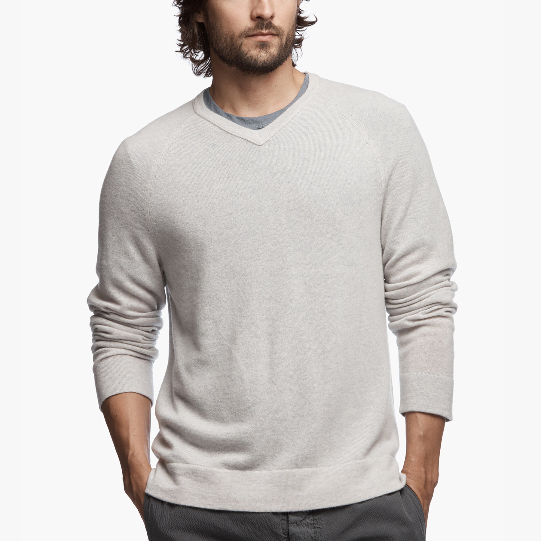 JAMES PERSE Cashmere Raglan V-Neck in Pearl/Heather Grey