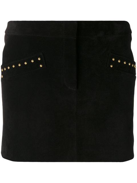 SAINT LAURENT Studded Suede Mini Skirt in Eoir