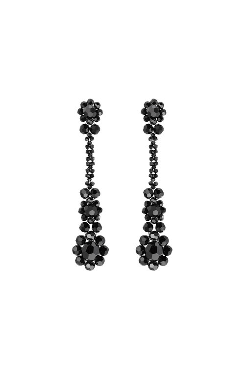Victorian Drop Earrings, Size Os, Women, Black