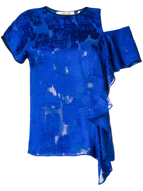 DIANE VON FURSTENBERG Side Ruffle Shirt in Klein Blue/Midnight