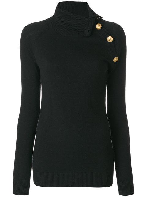 PIERRE BALMAIN Buttoned Turtle Neck Sweater