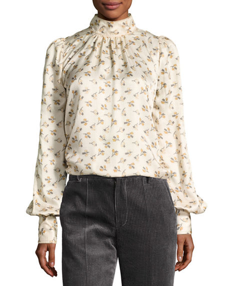 MARC JACOBS Floral Silk Charmeuse High-Neck Top, Cream