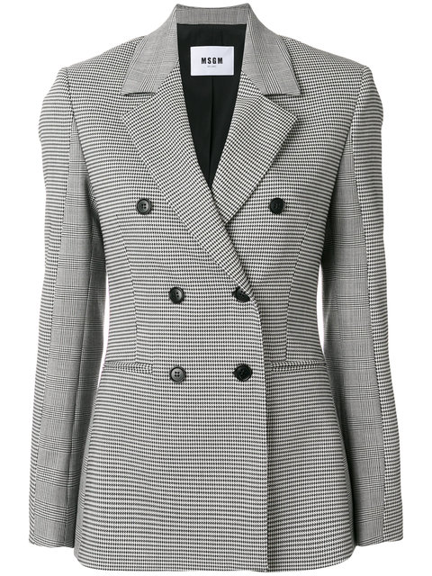 Double-Breasted Hound'S-Tooth Blazer, Black White