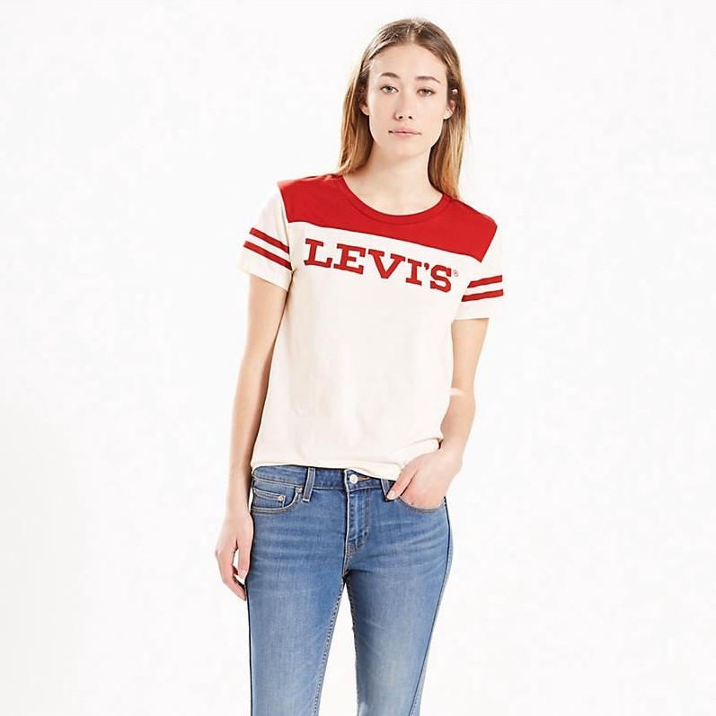 LEVI'S Levi'S® Cotton Perfect Logo Baseball T-Shirt in Marshmallow