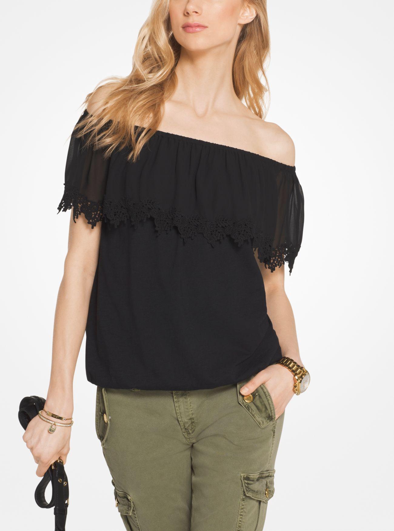 MICHAEL KORS Cotton Off-The-Shoulder Top in Black