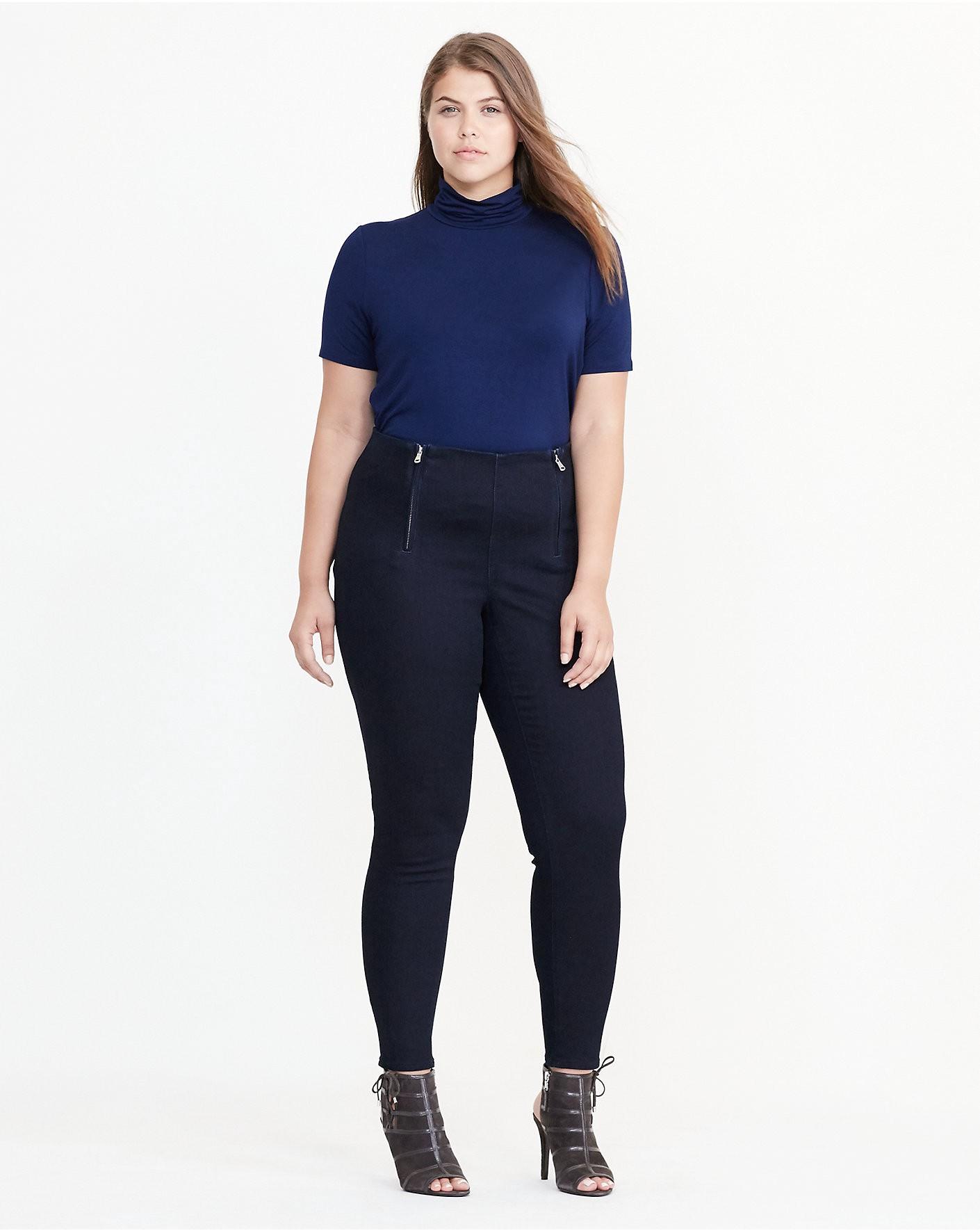 RALPH LAUREN Lauren Woman Stretch Cotton Skinny Pant in Ink Wash