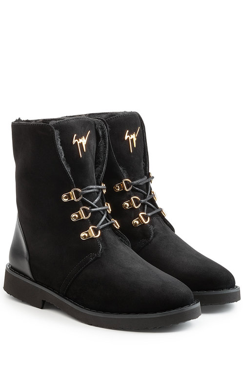 GIUSEPPE ZANOTTI Suede And Leather Ankle Boots in Black