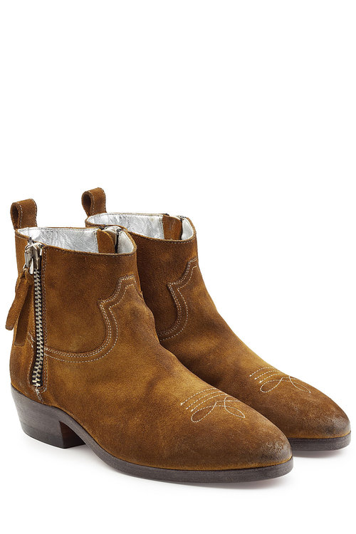 GOLDEN GOOSE Viand Suede Ankle Boots in Tan