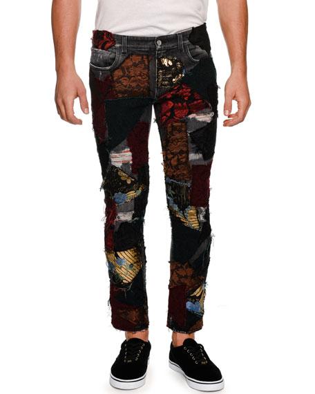 DOLCE & GABBANA Brocade-Patchwork Straight-Leg Jeans, Black