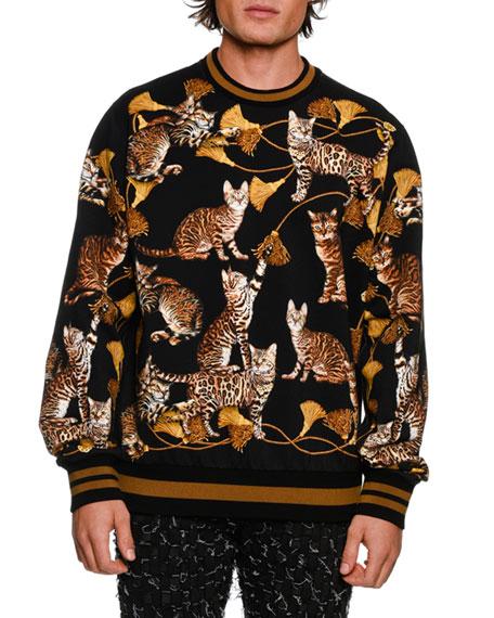 DOLCE & GABBANA Kitten-Print Cotton Sweatshirt, Black