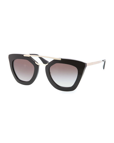 PRADA Square Brow-Bar Sunglasses, Black Metallic