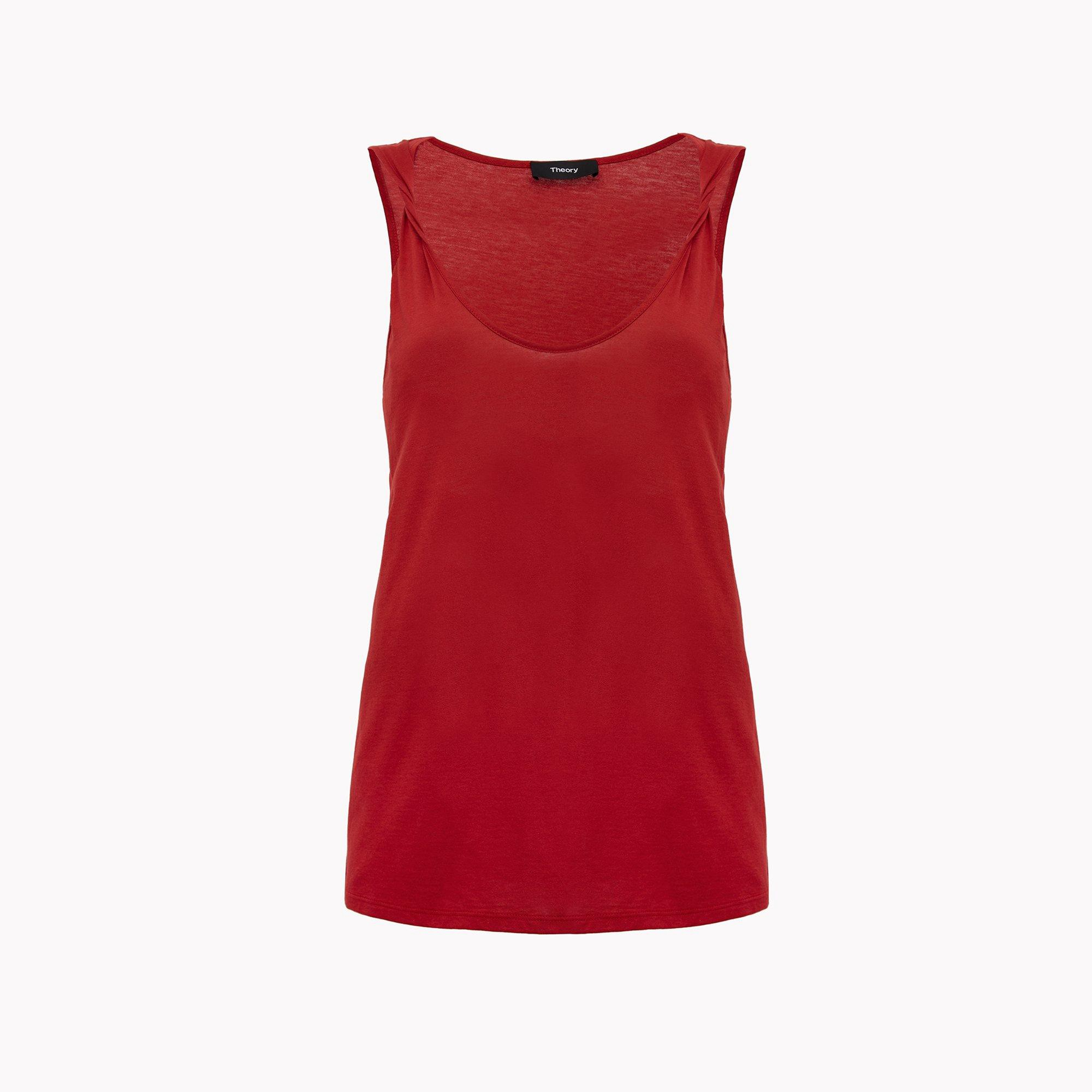 THEORY Twisted Strap Tank - Crimson Red