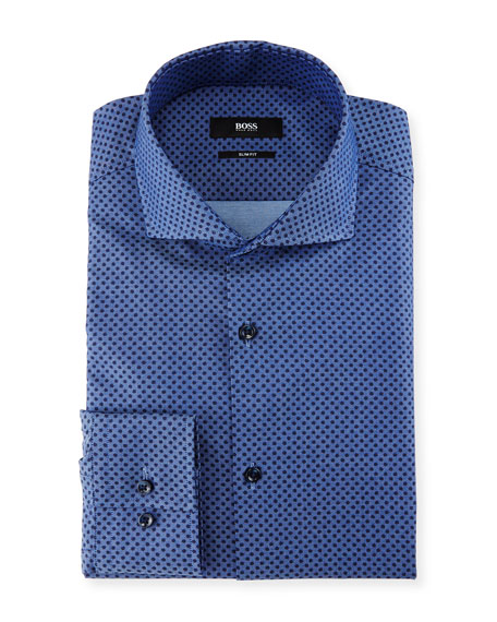 BOSS Slim-Fit Dot Dress Shirt, Denim