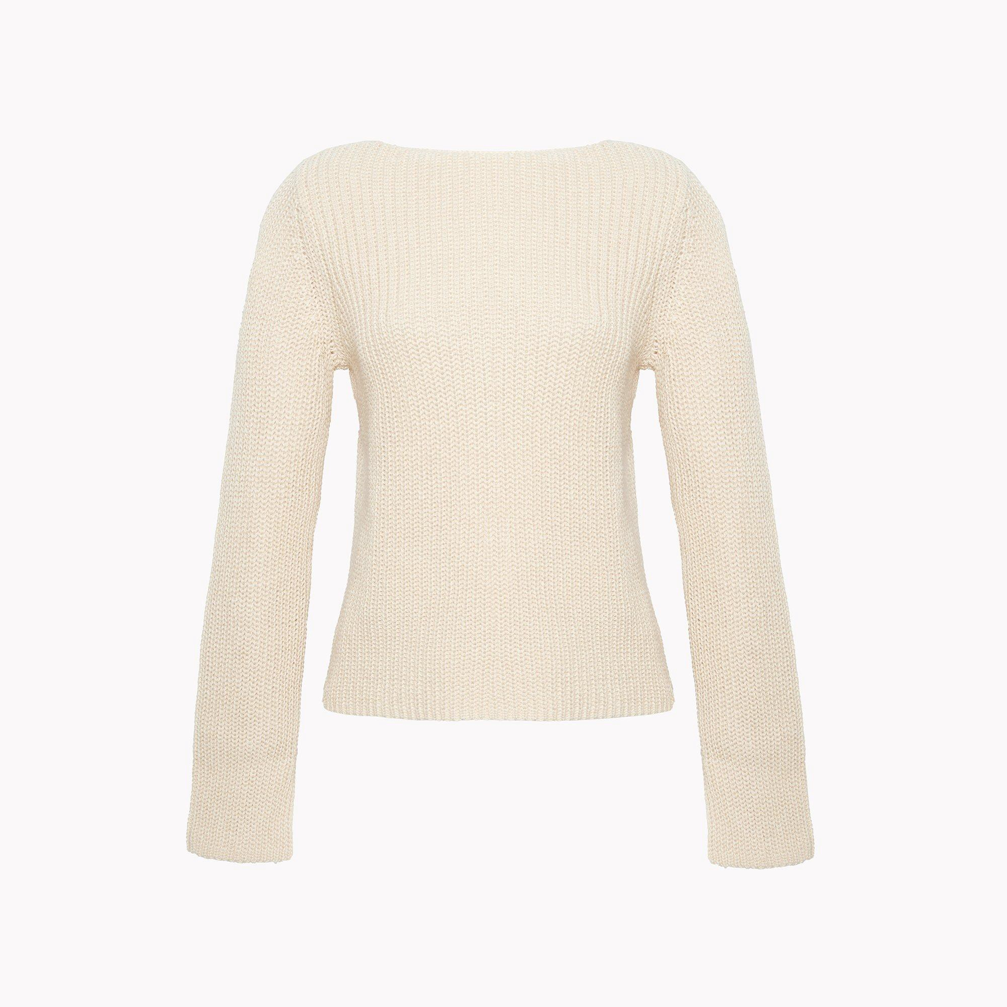 THEORY Relaxed Boat Neck Sweater - Shell White Mix