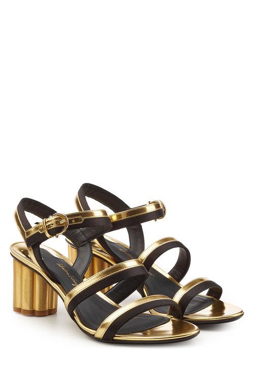 SALVATORE FERRAGAMO Metallic Leather Sandals With Suede in Multicolored