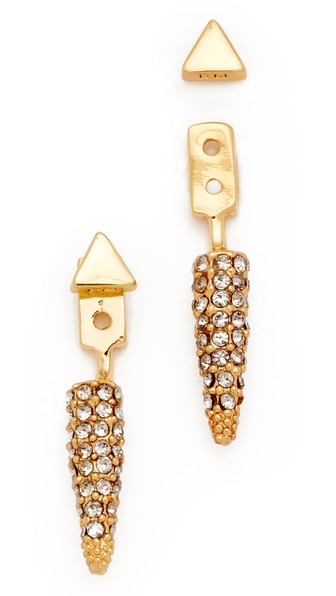 REBECCA MINKOFF Pave Spike Earrings in Gold/Diamond