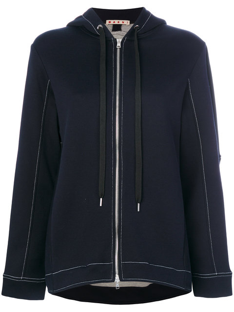 Oversized Cotton-Blend Jersey Hooded Top in 00B99 Blue Black