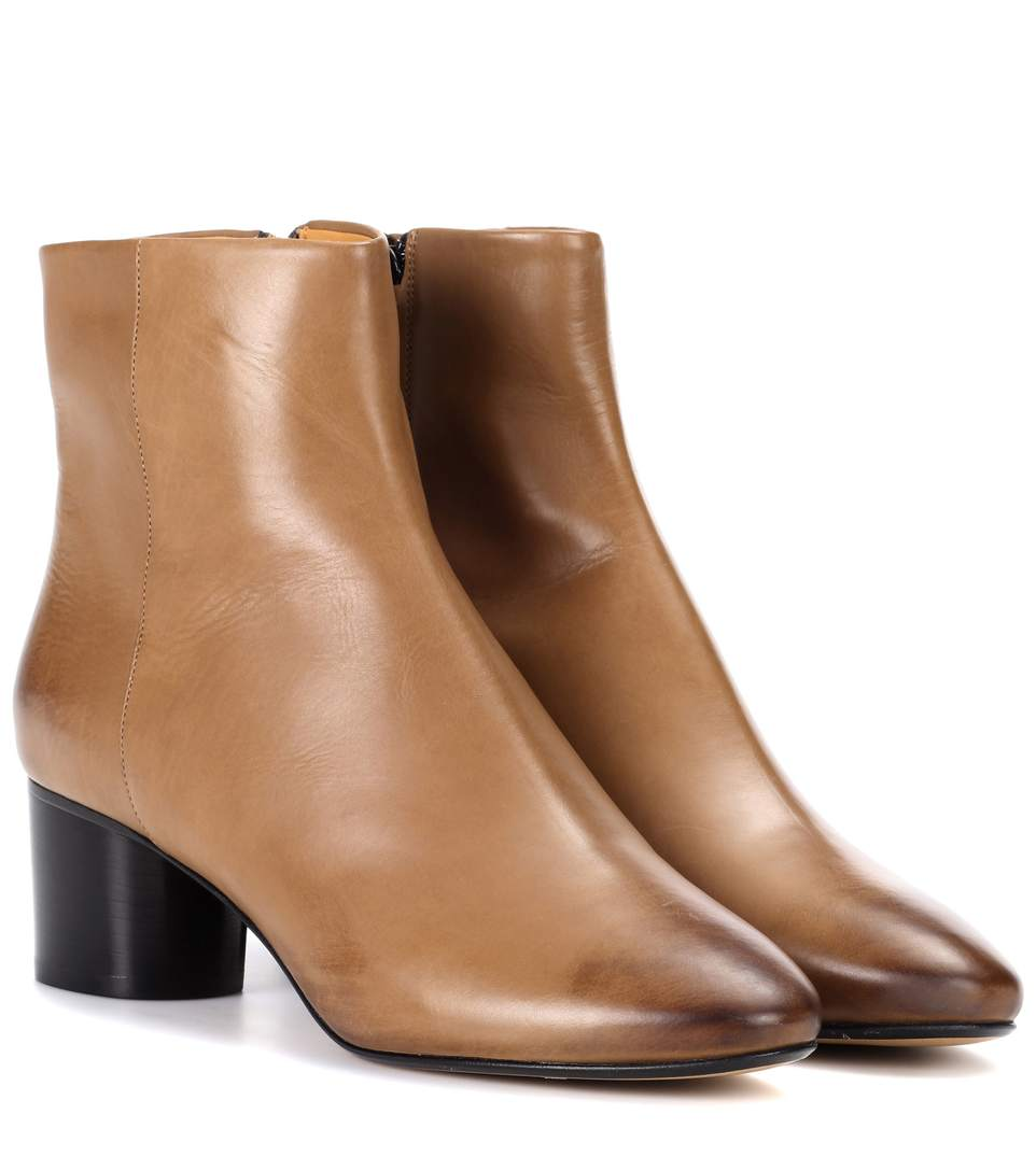 'Danay' Calfskin Leather Ankle Boots in Brown