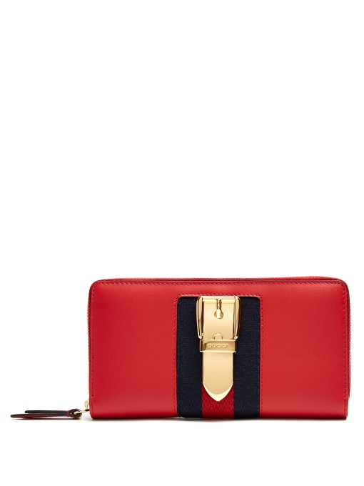 Sylvie Leather Zip Around Wallet, Hibiscus Red Leather