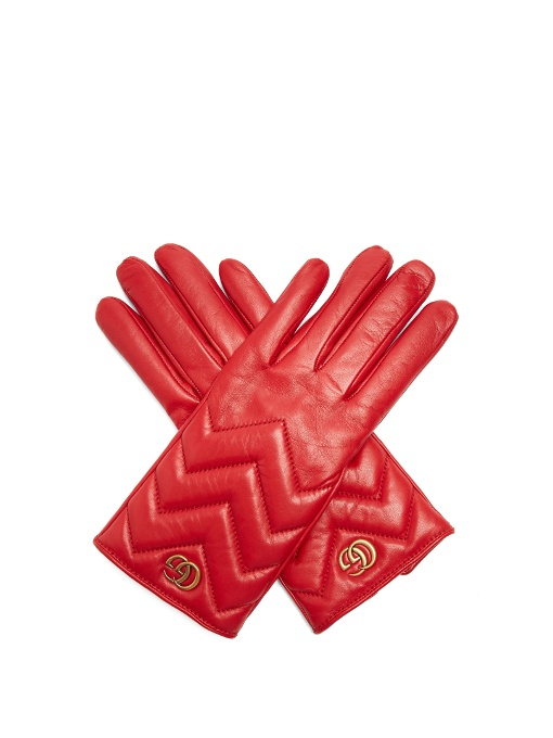 GUCCI Gg Marmont Chevron Leather Gloves in Red