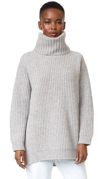 ACNE STUDIOS Disa Oversized Ribbed Wool Turtleneck Sweater in Pale ...