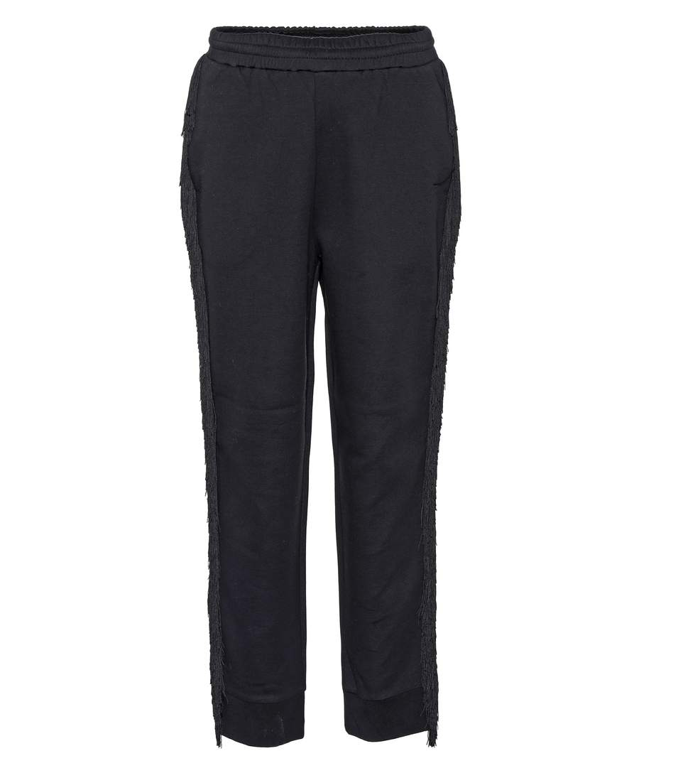 Woman Fringe-Trimmed French Cotton-Blend Terry Track Pants Black