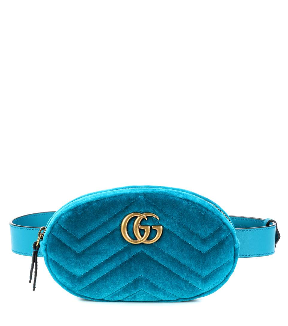 Gg Marmont Matelassé Velvet Belt Bag in Blue