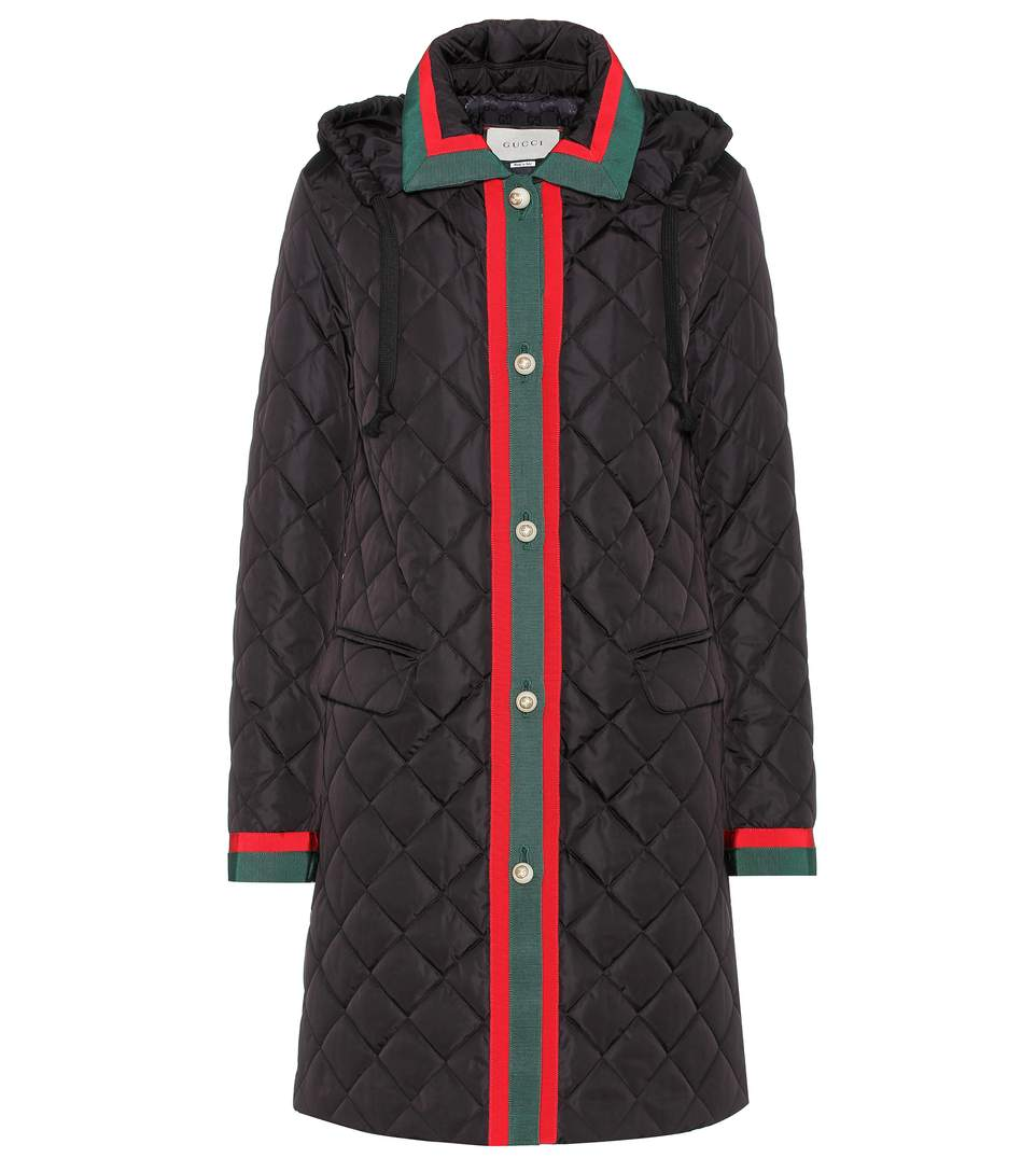 Hooded Grosgrain-Trimmed Quilted Shell Coat, Black