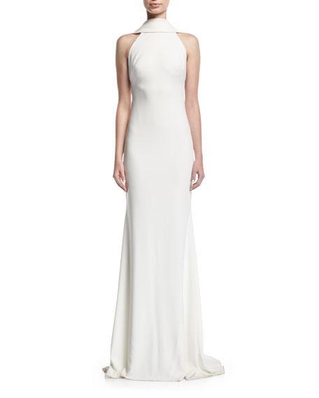 39ef4c9861d3 Badgley Mischka Beaded Loopback Sleeveless Column Evening Gown, Light Ivory