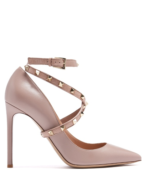 Studwrap Leather Pumps in Pink