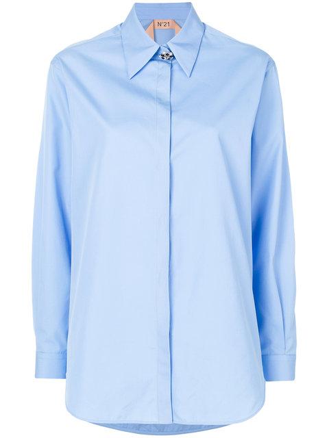 Boyfriend Poplin Shirt W/ Jewel Button, Blue