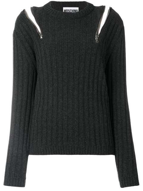 Zip-Embellished Ribbed-Knit Sweater in Grey