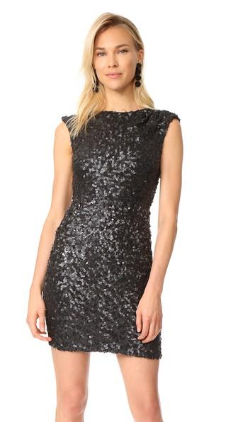 RACHEL ZOE Knott Sequin Cap-Sleeve Cocktail Dress in Black