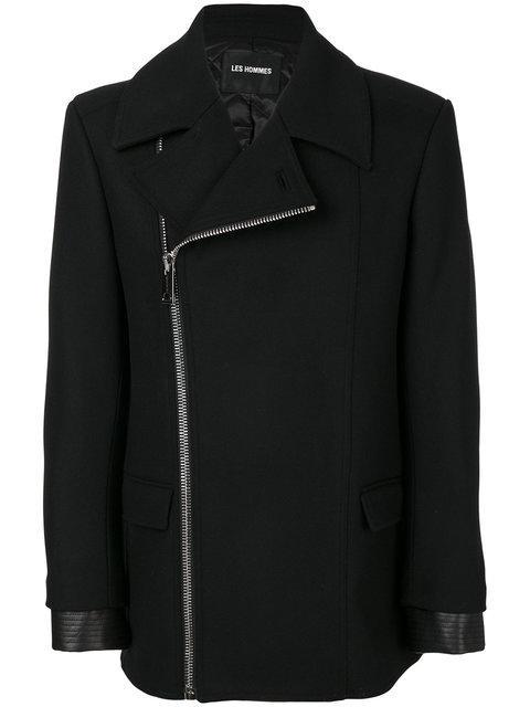 LES HOMMES Asymmetric Zip Jacket in Black