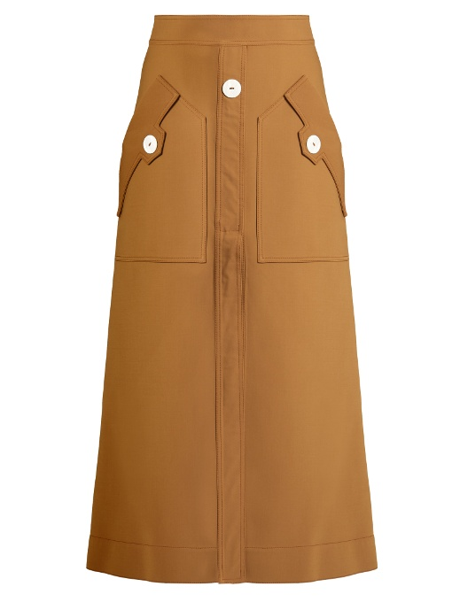 ELLERY 'Ritzy Fence' A-Line Suiting Skirt in Camel