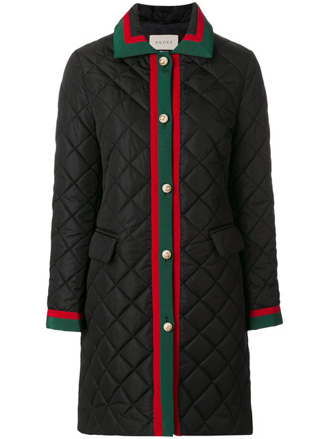 Hooded Grosgrain-Trimmed Quilted Shell Coat in Black