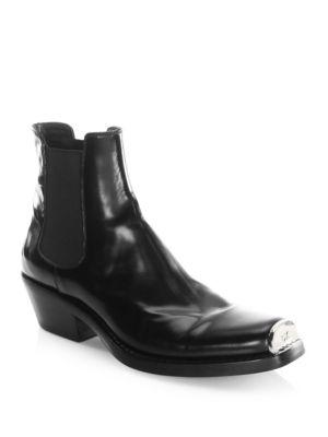 Claire Metal-Trimmed Glossed-Leather Ankle Boots, Black