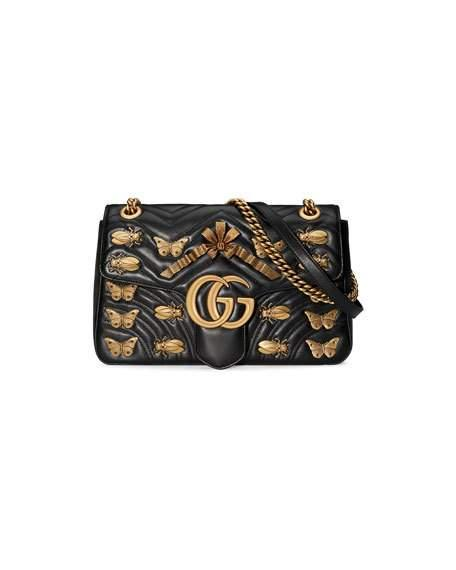 Metal Mix Gg Marmont Medium Butterflies Matelassé Leather Chain Shoulder Bag in Black