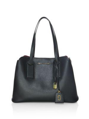 Ladies Black Practical The Editor Leather Shoulder Bag, Parchment