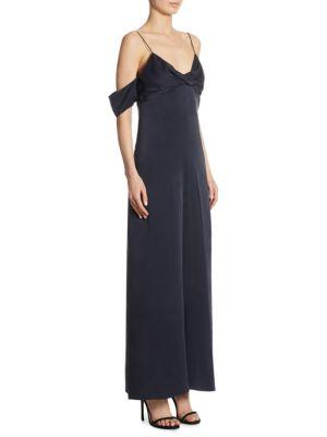 Cold-shoulder Washed-silk Jumpsuit - Navy Zimmermann Discount Latest Collections wLJ9E