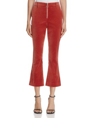 Cotton-Blend Velvet Crop Flare Trousers Size 4 in Brick