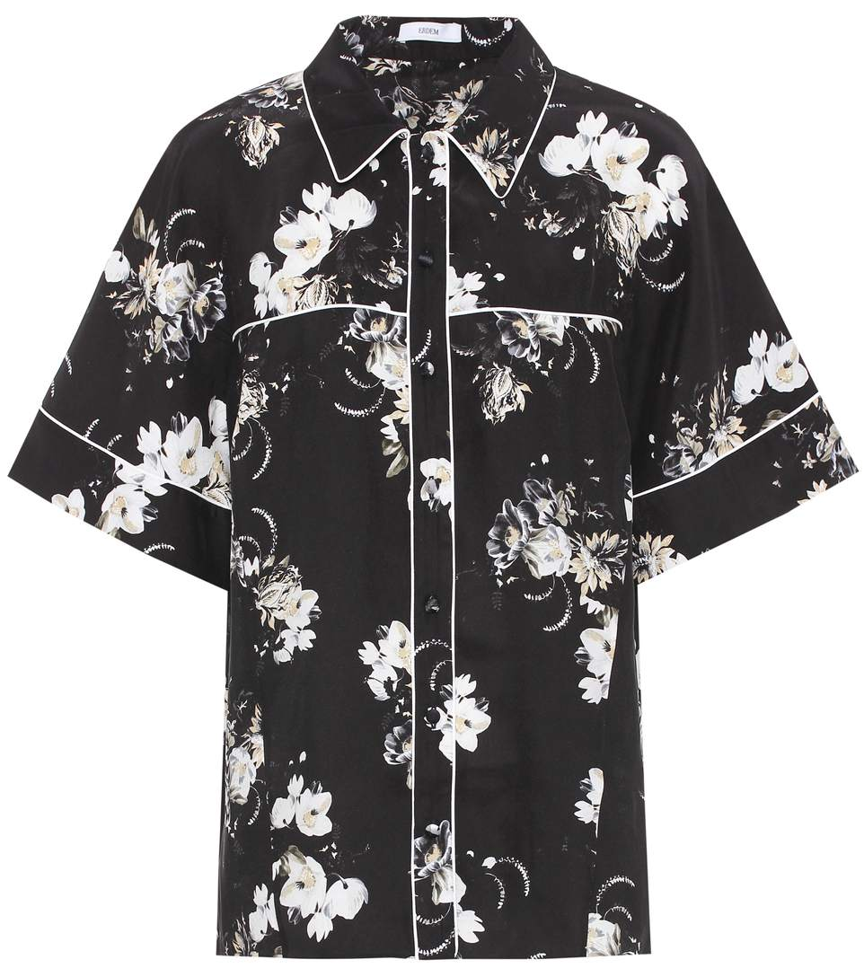 ERDEM Liana Floral-Printed Silk Shirt in Black