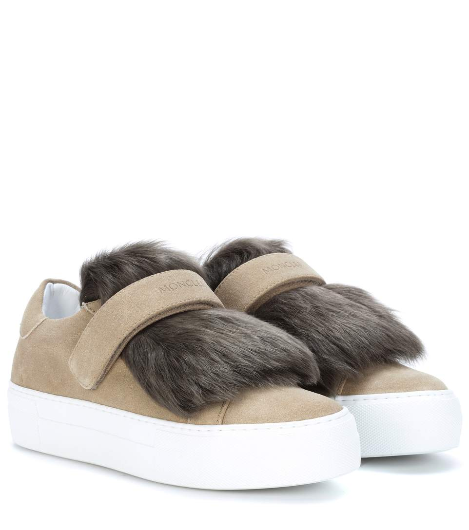 Dark Sand Leather Woman Sneakers With Shearling Fur in Neutrals