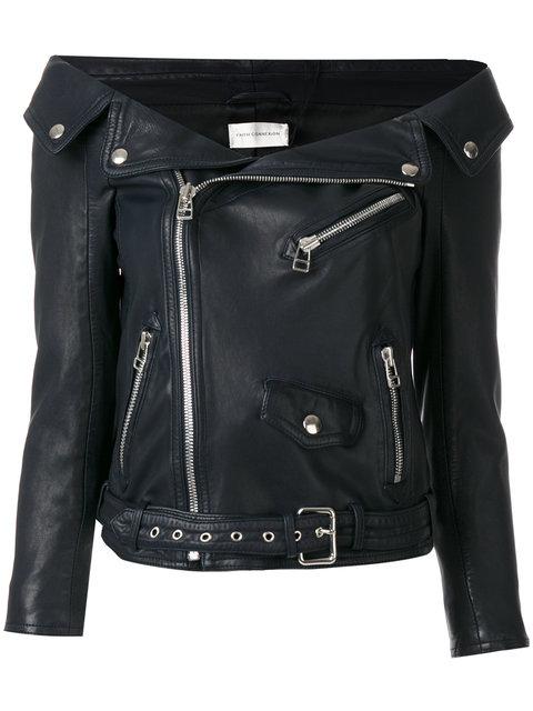 Off The Shoulder Leather Biker Jacket, Blue